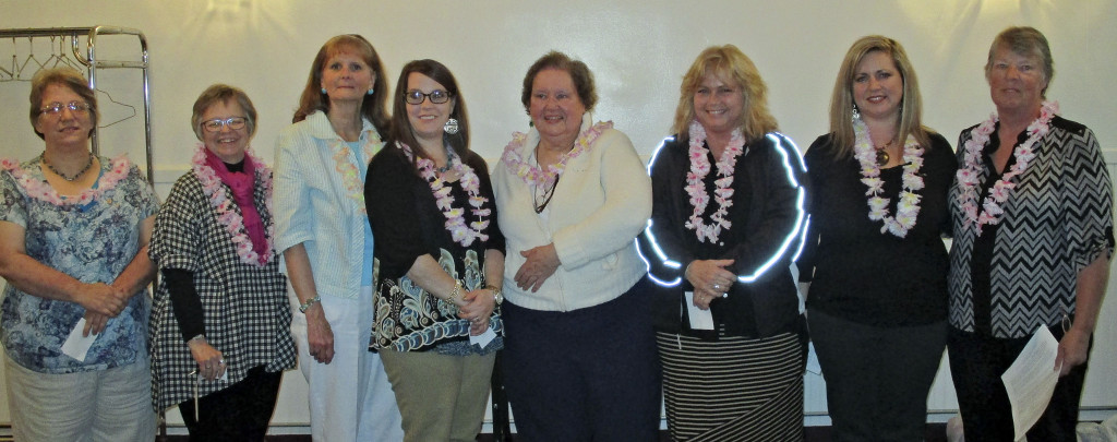 The Alpha Omicron Chapter of Virginia Alpha Delta Kappa, an international sorority for outstanding women educators, installed officers for the 2016-18 term at its end-of-year meeting. New officers, from left, are Elizabeth Riffey, chaplain; Barbara Halvorson, secretary; Adina McInturff, treasurer; Heather Walters and Sallie Raynor, historians; Lisa Gibson, vice president; and Tara Mason, president,  and Susan Fleming, past president.  Courtesy photo