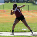 Warren County sophomore Cor'shauna Cunningham competes in the girls shot put during the Group 3A track and field state championships Saturday in Harrisonburg. Cunningham placed 10th in the event.   Brad Fauber/Daily