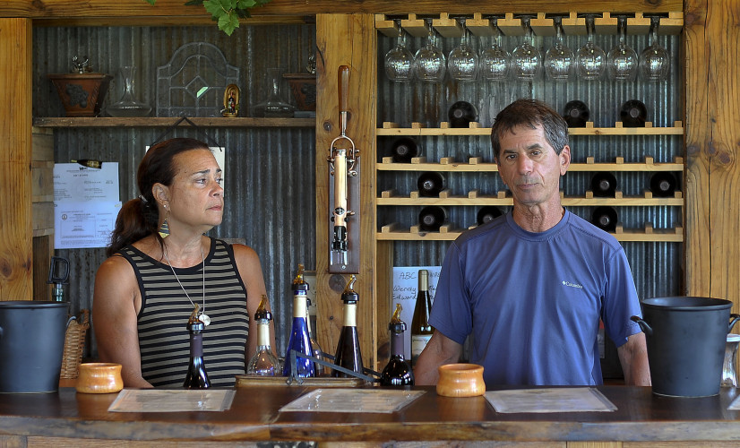 Wendy and Ed De Mello, co-owners of Third Hill Winery, relax behind the bar. The two moved from San Francisco to retire before starting a vineyard and winery.