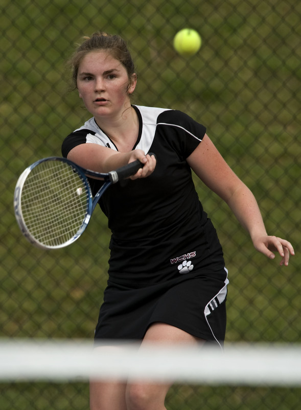 Warren County's Jayme Goode finished off her high school career in strong fashion. She led the Wildcats to a 10-2 record and advanced to the Conference 28 individual singles semifinals.  Rich Cooley/Daily file