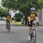 The Holy Rollers tale off on  their first stretch of road on their ride to Roanoke.  Jake Zuckerman/Daily