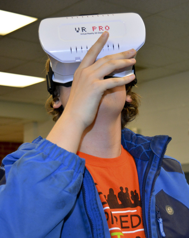 Daniel Halterman, 12, of New Market, looks through virtual reality googles. Courtesy photo