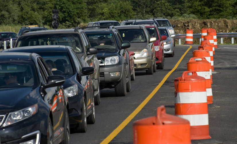 Northbound traffic along Tasker Road in Frederick County is bumper-to-bumper in a single lane near state Route 37 on Tuesday evening. Rich Cooley/Daily