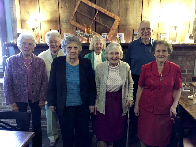 The Woodstock High School class of 1946 celebrated its 70th class reunion on April 14 at the Spring House Tavern. Those attending included, from left, Betsy Preston Doyle, Ethel Green Tangeman, Emma Lou Clark Artz, Louise Lineweaver Seekford, Jean Lambert Foster, Charles Boyer and Alma Funk Hottle. Photo courtesy of Ethel Tangeman.