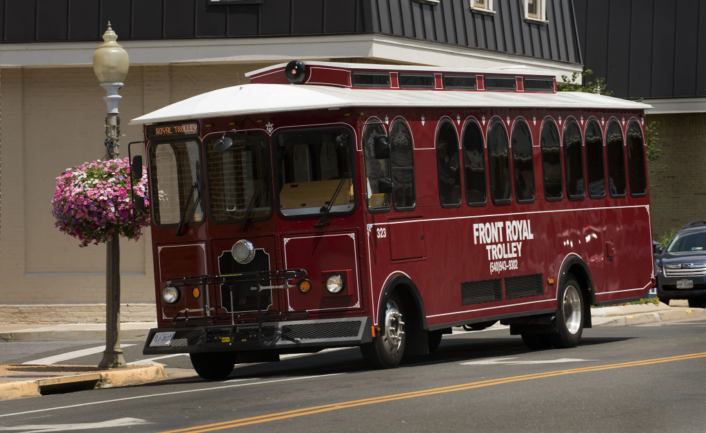 Front Royal's trolley rides along a section of Main Street near Royal Avenue recently. Rich Cooley/Daily