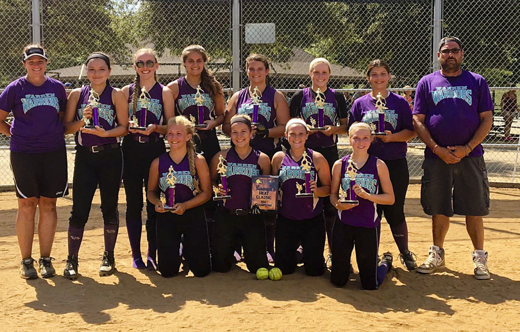 The Warren Warriors 16-U team won the Summer Heat Classic tournament in Charlottesville in extra innings, winning 11-7 over the Augusta Flames 16-U team. Team members are, front row, left to right: Emily Reinhardt, Gwyneth George, Jade Feltner, Abbey Lee; back row, coach Marcie Sirbaugh, Jayda Saulsbury, Mychayla Brannon, Lily Ruch, Katie Smoot, Rachel Sirbaugh, Emily Smoot and coach Kim Feltner.  Courtesy photo