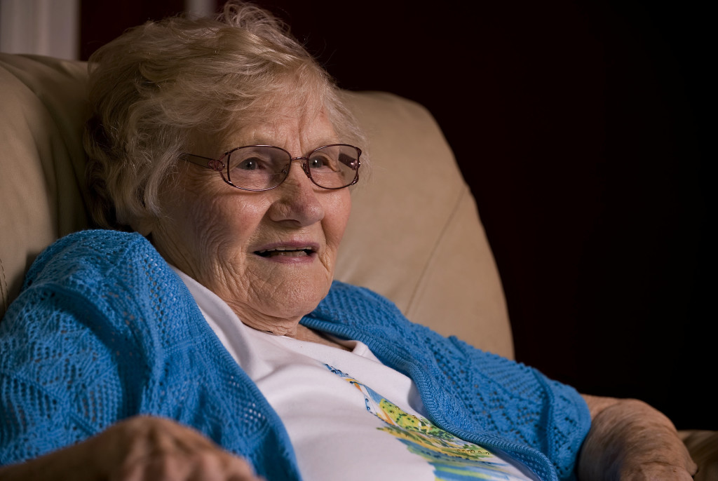 Mary Hicks, 95, sits inside  her Woodstock home. HIcks was one of two people in the region who recently had a minimally invasion surgery for heart valve disease.   Rich Cooley/Daily