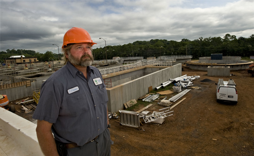 Tim Fristoe, wastewater manager for the Town of Front Royal, stands outside new construction of the town's sewer facility off Manassas Avenue. The $40 million construction is 50 percent complete and is slated to be completed in November 2017.  Rich Cooley/Daily