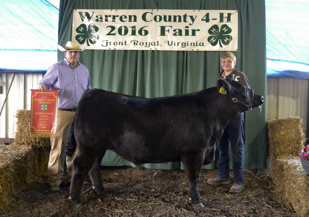 Caleb Barron won Reserve Grand Champion Market Steer at the Warren County Fair this week. Also shown here is 4-H alumni Jordan Taylor.  Courtesy photo by  Stacy Swain