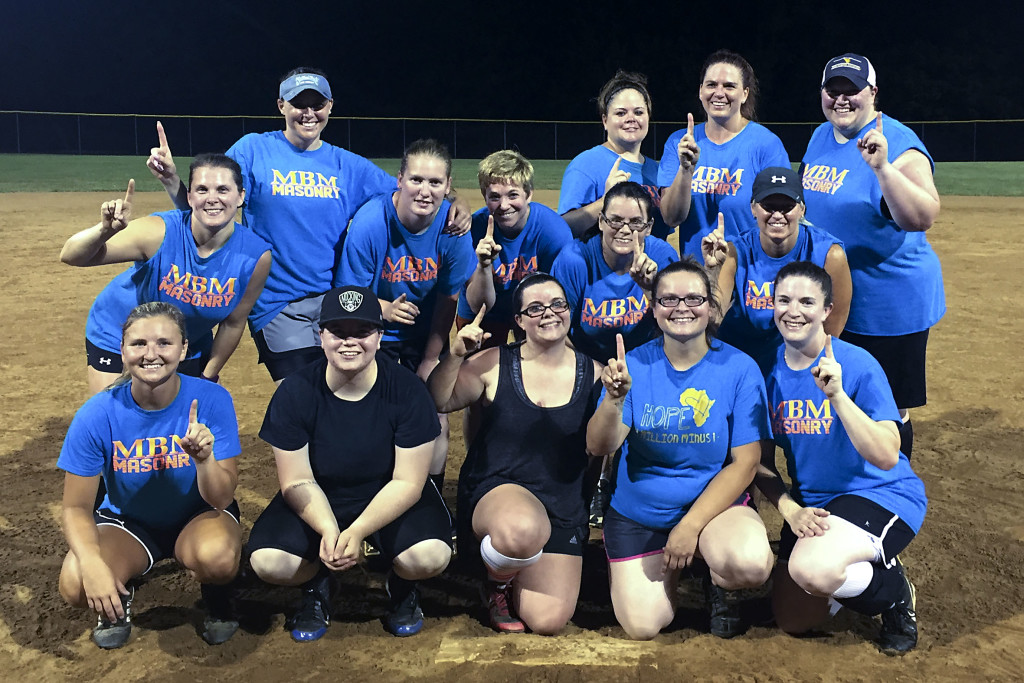 The MBM Masonry Softball Team has won the Shenandoah County women's softball championship. Pictured are teammates, front row from left, Lauren Stickles, Kierstyn Austin, Angie Beydler, Jazmin Wimer, Kelli Gathers; back row, Mandy Reedy, Ashleigh Smith, Jen McKee, Karen Brown, Kim Ryman, Karen Krasley, Andrea Austin, Jennifer George, Lee Adams. Not pictured are Sam Hedrick and Amy Hodson. Courtesy photo
