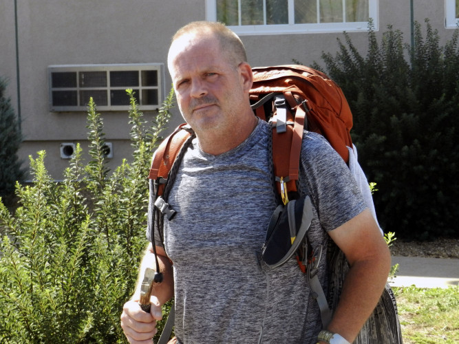 George Eshelman, a retired Army sergeant and president and founder of the Unified Warrior Foundation, made a stop for rest in Strasburg this week during his long hike along the Appalachian Trail.  Nathan Budryk/Daily