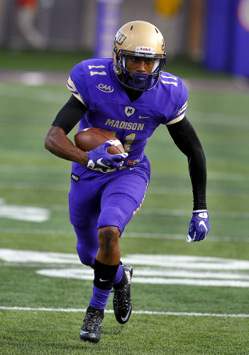 James Madison University's  Brandon Ravenel runs down field in a game against Morehead State last season. The senior wide receiver led the team in receptions and yards last season. Courtesy photo/JMU Athletics Communications