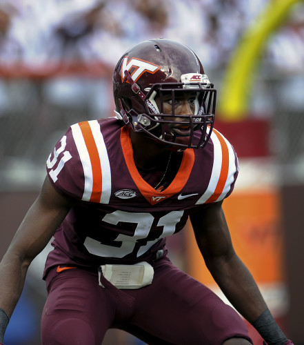 Virginia Tech cornerback Brandon Facyson is hoping he remains healthy this season after a career marked by injury.   Courtesy by Dave Knachel/Virginia Tech