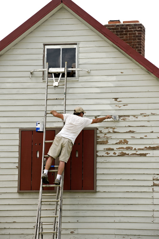 James Whittington, of Woodstock, paints the side of a home on South Muhlenberg Street on a hot summer morning.  Rich Cooley/Daily