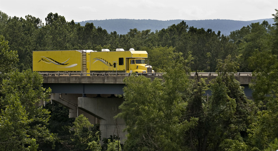 A truck travels westbound on Interstate 66 along the Shenandoah River bridge in Warren County in a view from the Front Royal Country Club. The bridge is scheduled to be named the Trooper Harry Lee Henderson Memorial Bridge in a ceremony today at the Front Royal Country Club.   Rich Cooley//Daily