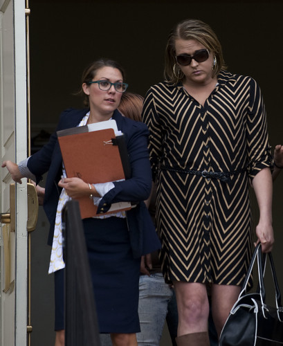 Attorney Alison W. Toepp, left, walks outside Shenandoah County Circuit Court in Woodstock with her client, Kendra Brill, right, during a civil proceeding Monday afternoon. Brill, who identifies herself as transgender, is trying to have her name changed.   Rich Cooley/Daily