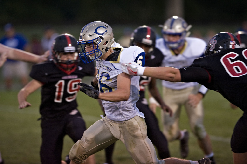 Central's Carston Shockey finds running room during the first half of a game against Stonewall Jackson on Sept. 2.  Rich Cooley/Daily