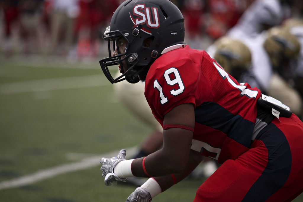 Shenandoah University senior cornerback Bayvon Young thrives as one of the Hornets' most vocal and energetic leaders.   Photo courtesy of Shenandoah University