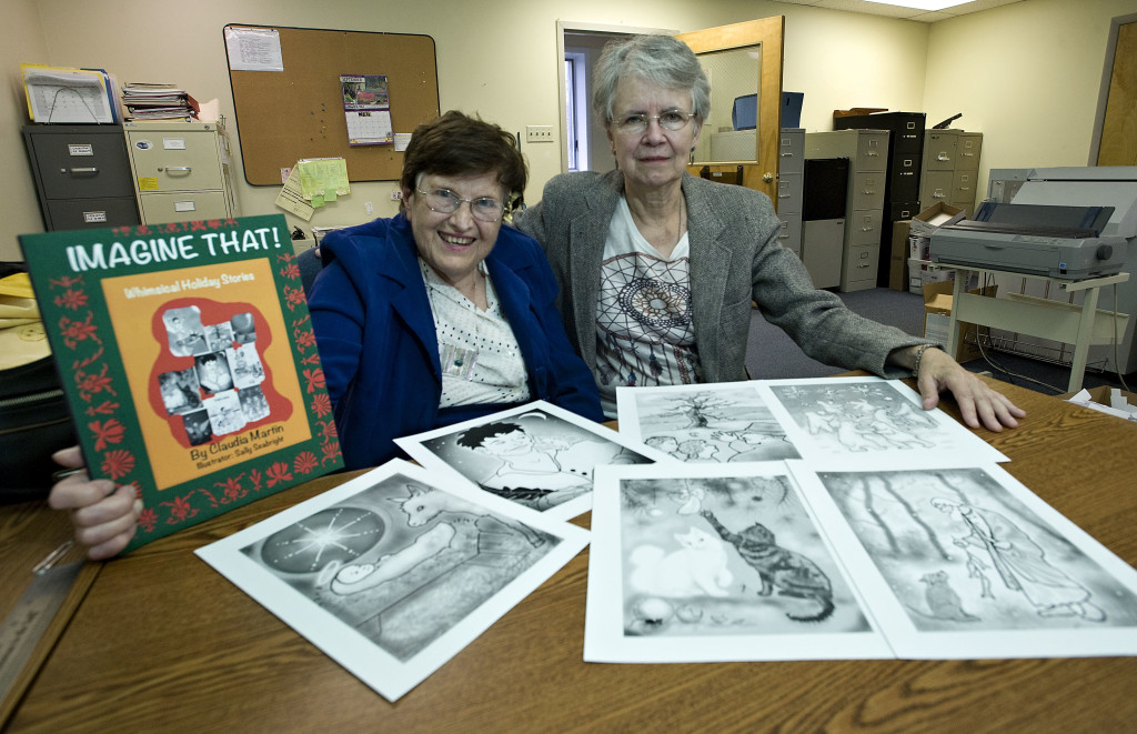 "Author Claudia Martin, left, and illustrator Sally Seabright, right, have teamed to create a holiday stories book titled ""Imagine That!""    Rich Cooley/Daily"