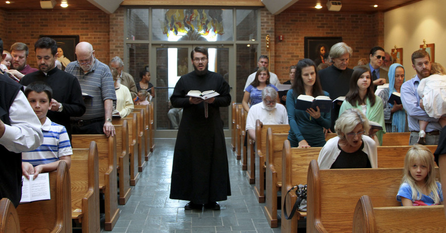 Seminarian Philip Gilbert chants the Epistle during a Saturday afternoon Divine Liturgy at the Front Royal mission of the Ukrainian Catholic Church. Photo courtesy of Andrew Perrong