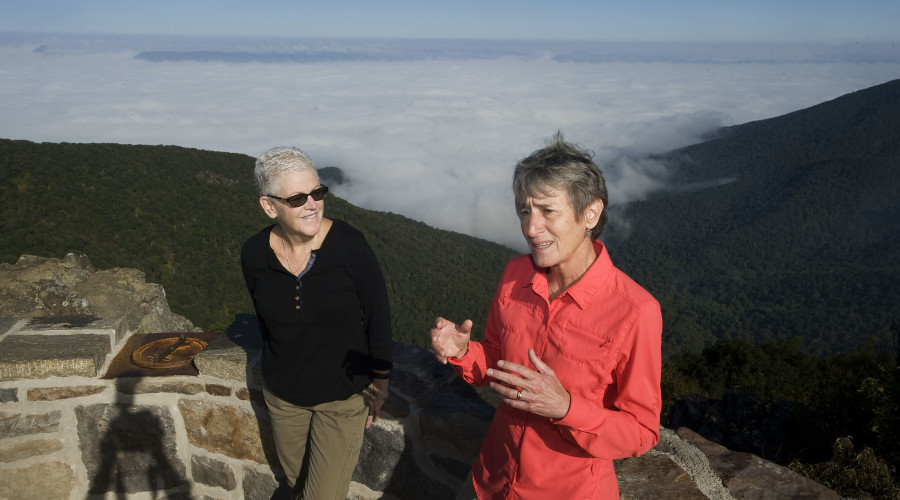 EPA Administrator Gina McCarthy, left, and U.S. Secretary of the Interior Sally Jewell, speak during a news conference on climate change and haze at the Hawksbill Mountain summit in Shenandoah National Park on Thursday morning. Rich Cooley/Daily