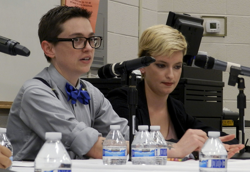 "Jessica Clawson, left, co-owner of the Hideaway Cafe in Winchester, discusses the Pulse nightclub shooting at Shenandoah University's ""Beyond the Vigil"" panel on Thursday in honor of LGBT History Month. Also pictured is panelist Alex Carney.  Rachel Mahoney/Daily"