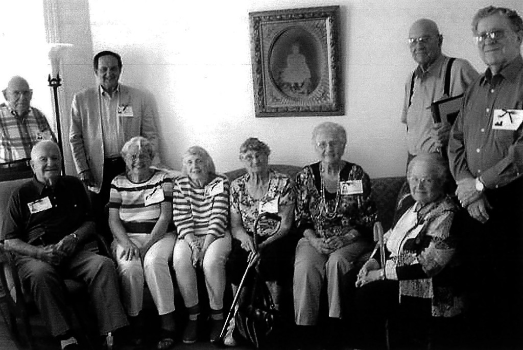 Members of the Edinburg High School class of 1946 gathered for their 70th reunion at the childhood home of Joan Bowman Martin in Edinburg. Those attending were, seated from left,  Jim Litten, Joan Bowman Martin, Margaret Hoffman Goldman (teacher), Arlene Sager Wolfe, Ruth Coffman Turner, Freddie Fadeley Frazier; standing, Bill Roller, Bob Wisman, Randolph Foltz, William Pence. Courtesy photo
