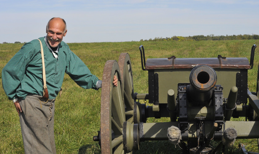 Tom Alexander shows off a cannon he built that will be used in this weekend's re-enactment. He plays a role in the 2nd Maryland Battalion. Alexander has been coming to the battle re-enactment since 1991. Jake Zuckerman/Daily