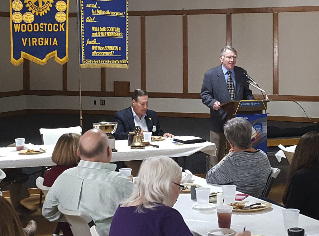 John Schillinger, emeritus professor of Russian at American University in Washington, D.C., talks to members of the Rotary Club of Woodstock at its meeting on Oct. 12.  Schillinger discussed the history of Russia and Russian leadership from 892 to present. Courtesy photo