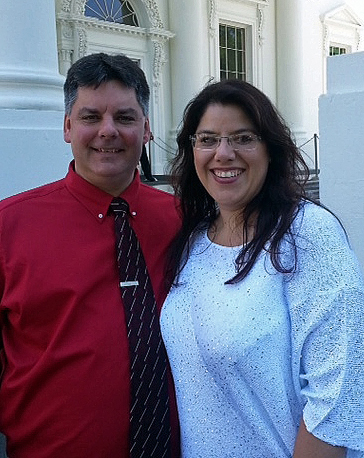 Christine Germeyer poses with her husband, Jay Germeyer, in front of the White House. Christine Germeyer was recently appointed to the state's Special Education Advisory Committee.  Courtesy photo