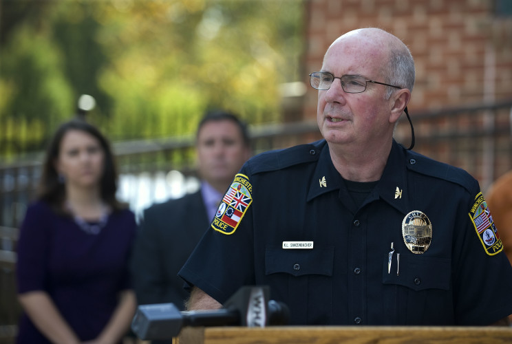 Winchester Police Chief Kevin L. Sanzenbacher speaks to the media outside the Timbrook Public Safety Center in Winchester on Wednesday. Another recent  spike in heroin overdoses prompted the news conference. Rich Cooley/Daily