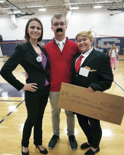 Strasburg High School students, from left, Amelia Guthrie, Eric Steacy and Breana Alsworth dress up as Hillary Clinton, presidential debate attendee Ken Bone and Donald Trump this week during the school's spirit week activities that led up to Friday's homecoming game.  Courtesy photo