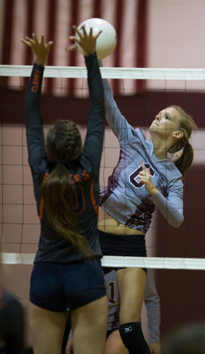 Warren County's Britney Carter goes up for a kill during a Monday night match against Clarke County in Front Royal. Rich Cooley/Daily