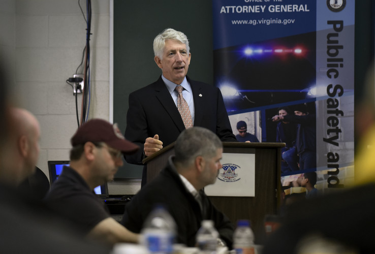 Virginia Attorney General Mark Herring speaks to area law enforcement professionals Wednesday morning at the Rappahannock Regional Criminal Justice Academy in Middletown. Herring opened a three-day session that focused on fair and impartial 21st-century policing. Rich Cooley/Daily