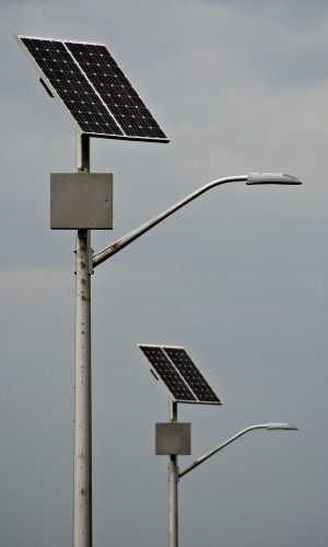 The town of Woodstock recently installed solar-powered lights on Motel Drive. Rich Cooley/Daily
