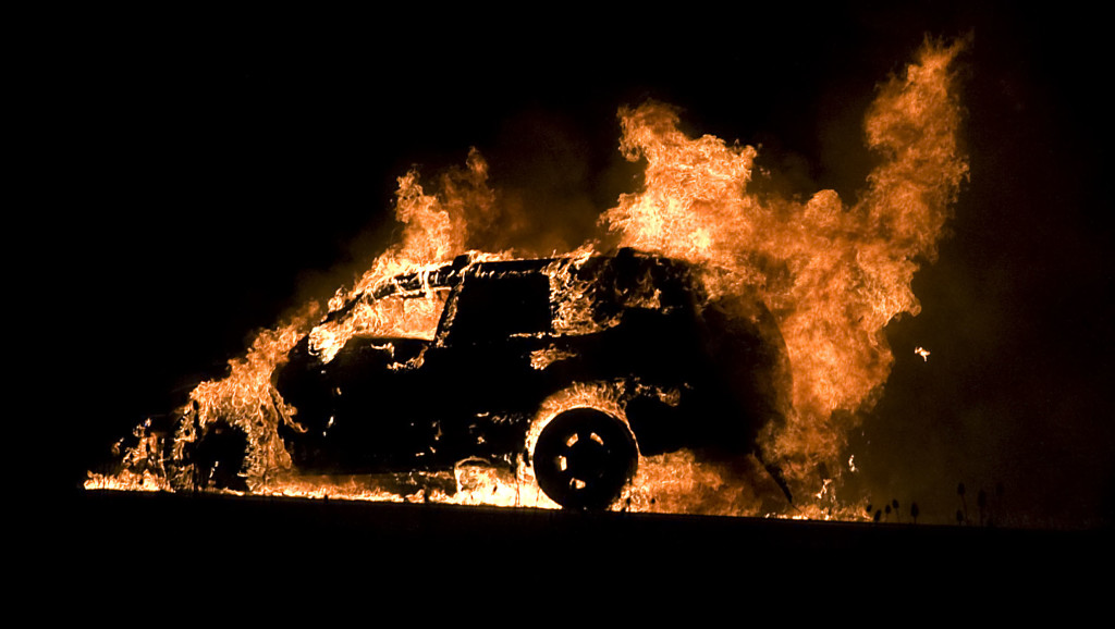 This vehicle was destroyed by fire Thursday evening along Interstate 81 southbound at the 296 exit in Strasburg. No further information was available on Thursday. Rich Cooley/Daily