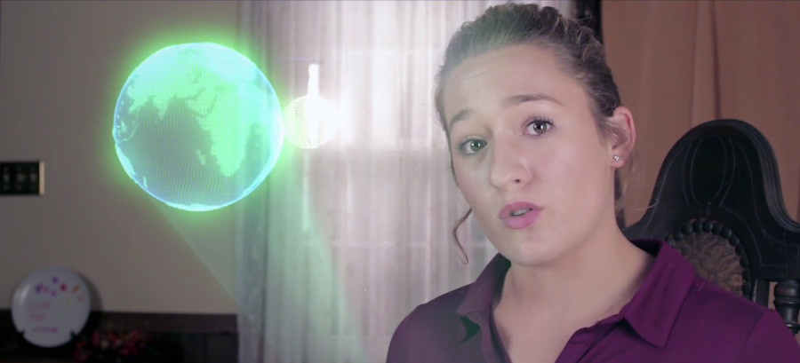 Sherando junior Karter Ohlson, 16, of Middletown, talks about the escape velocity from Earth in her video entry to the Breakthrough Junior Challenge about black holes. Photo courtesy of Karter Ohlson