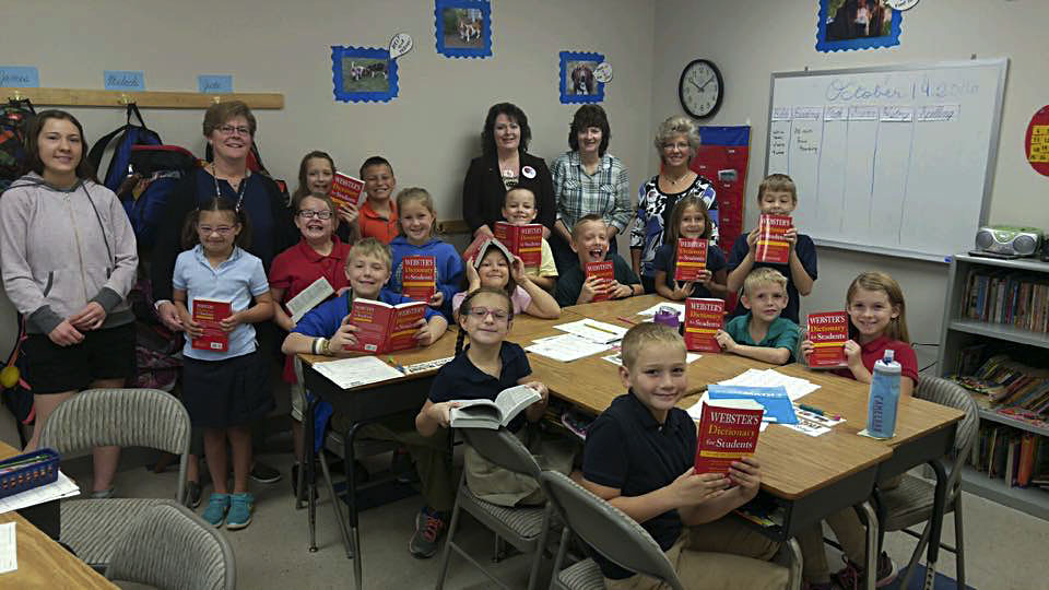 The Rotary Club of Front Royal distributed dictionaries to the third-grade class of Missey Gibson at Front Royal Shown here, seated clockwise, are Malachi Conley, Sarah Tutton, James Chapman, Jenna Coughenour, Evan Hill, Weston Dunbar, Faith King, Jude Lindsey, Malena Haworth; standing, from left, are Megan Miller, Alleigha Dodson, Amiira Coughenour, Gage Knapp; back row, aide Colleen Mulligan, teacher Missey Gibson, Hallie Herndon,  Brady Knight and Rotarians Susan Ralls, Diana Sullivan and Aneita Bryant. Courtesy photo