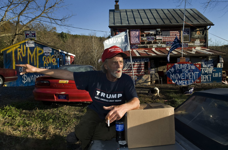 Tommy Smith, 64, talks politics outside his home on Senedo Road, west of Edinburg. Smith decorated his home when Donald Trump announced his candidacy for president last year and plans to leave it as a landmark for people who drive by and honk their car horns in recognition.   Rich Cooley/Daily
