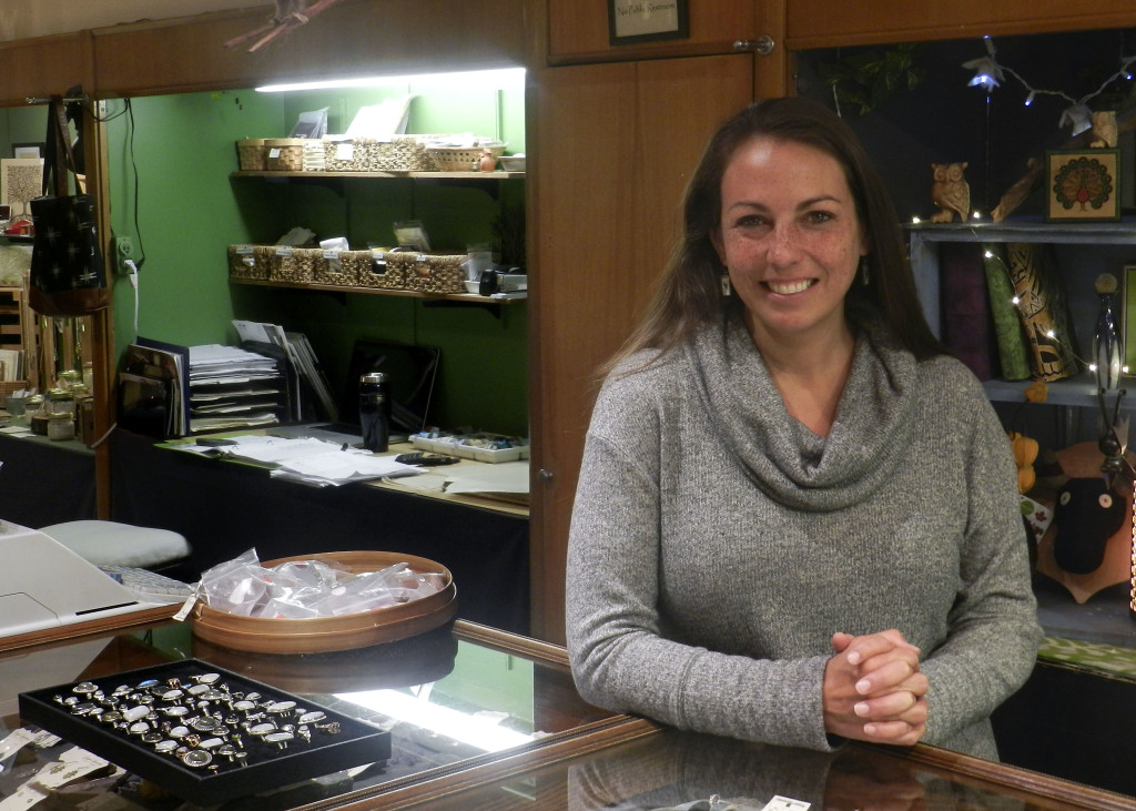 Maryam Hoult, operator of Handworks Gallery on the the Loudoun Street walking mall in Old Town Winchester, said that big sellers for her during the holidays tend to be jewelry and pieces by local artists. Nathan Budryk/Daily