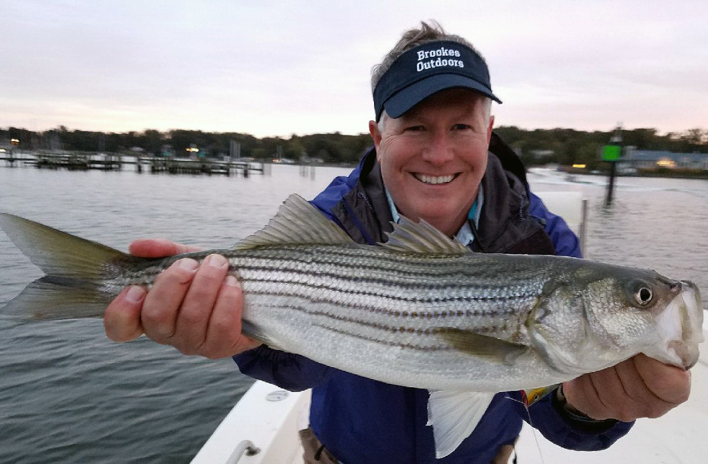 Peter Brookes holds a striper caught during a fishing trip on the Chesapeake Bay. Courtesy photo