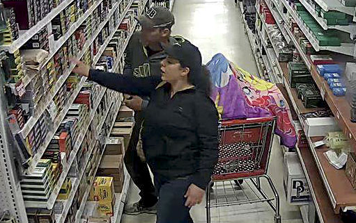 Stevie Nicole Cornell, 29, of West Virginia, and Richard Edward Wood, 43, of Winchester, are shown in this image taken from video at Miller's Ace Hardware in Stephens City. They have been charged with grand larceny.  Photo courtesy Frederick County Sheriff's Office