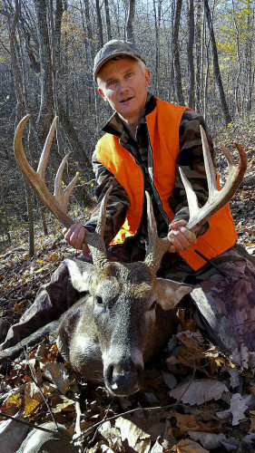 Tim Biller, of Rockingham County, is shown with his 10-point buck on Nov. 12. The buck weighed nearly 200 pounds. Courtesy photo