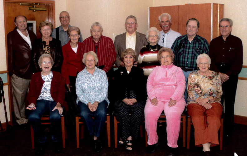 Members of the Triplett High School class of 1956 held their 60th class reunion on Oct. 8 at Denny's Restaurant in Mount Jackson. Classmates attending were, front row, from left: Mary Ellen Rinker Pryor, Shirley Sigler Getz, Dorothy Rosen, Dot Dodson Baker, Jean Hottle Estep; second row, John Dodson, Margaret Ryan Funkhouser, C. Richard Frye, Pat Good, Daniel Funkhouser, David Seekford, Jean Ann Ryman Ankers, John Koontz, Jimmy Hiner, Eugene Mooney. Twenty classmates who have died were remembered. Courtesy photo