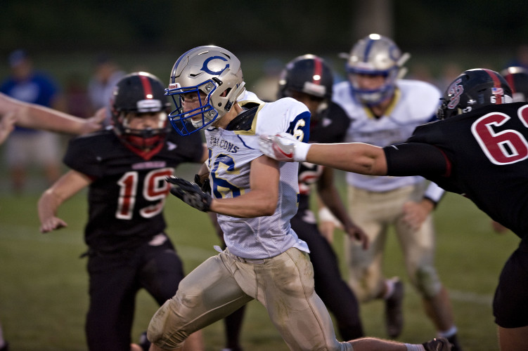 Central's Carston Shockey finds running room against Stonewall on Sept. 2 in Quicksburg.  Shockey, The Northern Virginia Daily's Offensive Player of the Year, ran for 1,357 yards this season. Rich Cooley/Daily