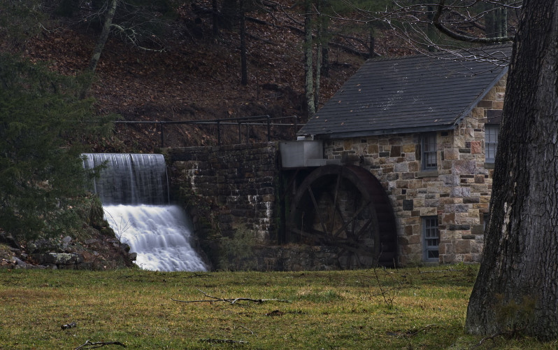 Water flows over the mill race recently at Liberty Furnace off Liberty Furnace Road west of Edinburg. Rich Cooley/Daily