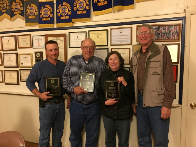 Von Himelright, president of the North Shenandoah Ruritan Club, far right, presented the club's annual Community Service Awards at its November meeting. This year's awards went to, from left, Jimmy and Billy Hockman of J.C. Hockman & Son, and to Holly Brumback with Woodbine Farm Market. Courtesy photo