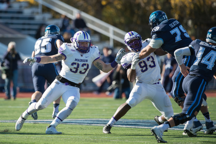 JMU's Gage Steele looks to make a play during a game against Villanova on Nov. 12. Steele has helped lead JMU's defense, which has only allowed 18.6 points per game since Oct. 29. Courtesy photo/JMU Athletics Communications