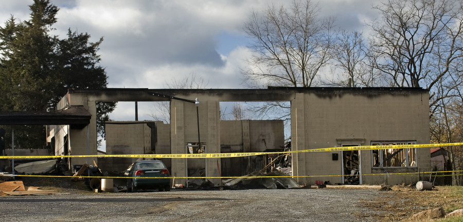 A weekend fire destroyed this warehouse south of Strasburg early Sunday morning. Rich Cooley/Daily