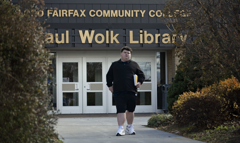 Central High School senior William Woodward III, 17, of Maurertown walks outside Lord Fairfax Community College in Middletown recently. Woodward, a dual enrolled student, just missed receiving a perfect score on his ACT by a single point in English. Rich Cooley/Daily
